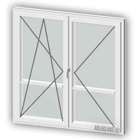 150x240 Műanyag erkélyajtó, Kétszárnyú, Bukó/Nyíló+Nyíló, Neo Iso
