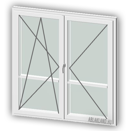 160x220 Műanyag erkélyajtó, Kétszárnyú, Bukó/Nyíló+Nyíló, Neo80