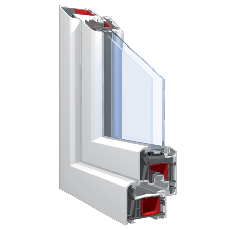230x190 Műanyag ablak vagy ajtó, Háromszárnyú, Ablaksz. Fix+B/NY+Ablaksz. Fix, Neo