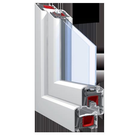 140x190 Műanyag ablak vagy ajtó, Háromszárnyú, Ablaksz. Fix+B/NY+Ablaksz. Fix, Neo