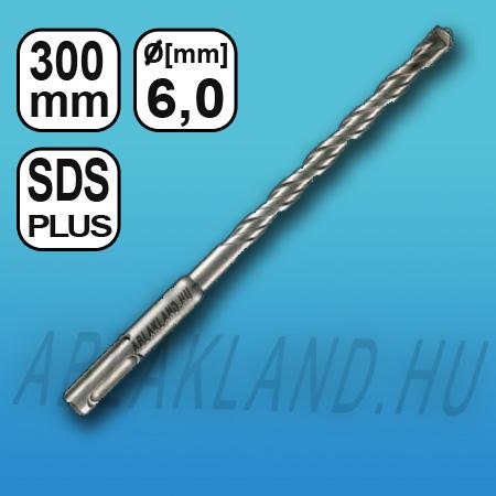 Fúrószár SDS plus, 6mm, 4 élű betonfúró, kőzetfúró